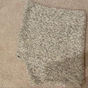 Grey Metallic Knit Circle Scarf